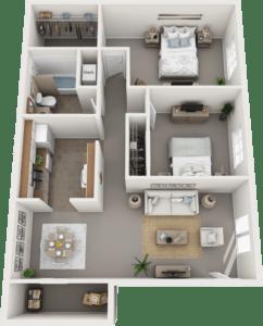 The Cambridge Floor Plan, Regency Club Apartments, Evansville, IN