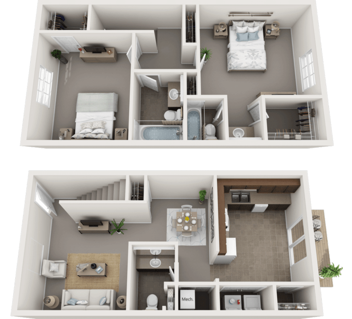 The Kingston Floor Plan, Regency Club Apartments, Evansville, IN